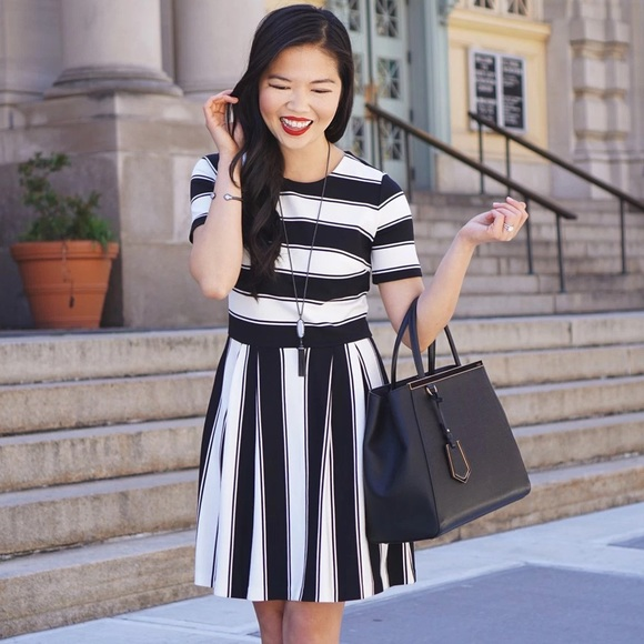 LOFT Dresses & Skirts - Black and White Striped Work Dress