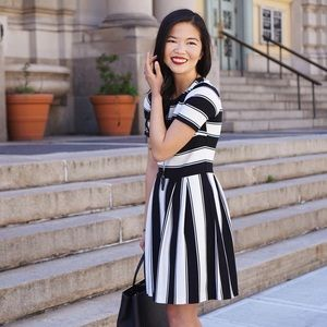 LOFT Dresses - Black and White Striped Work Dress
