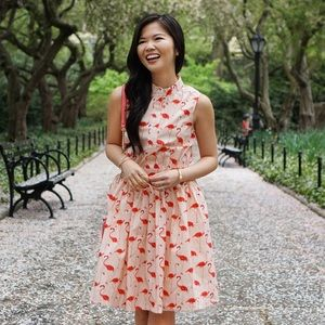Pink and Coral Flamingo Print Dress
