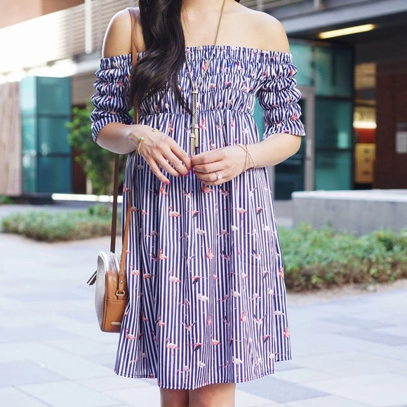 Chicwish Dresses - Flamingo and striped print off the shoulder dress