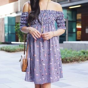 Flamingo and striped print off the shoulder dress
