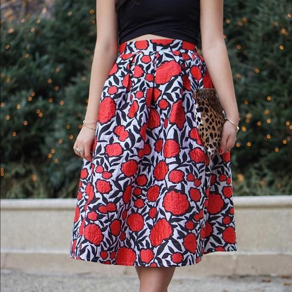 Chicwish Skirts - Red Rose Print Midi Skirt