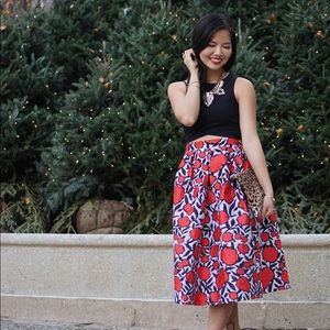 Red Rose Print Midi Skirt