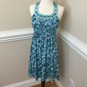 Candie's Dresses & Skirts - Turquoise halter dress with beading and key hole