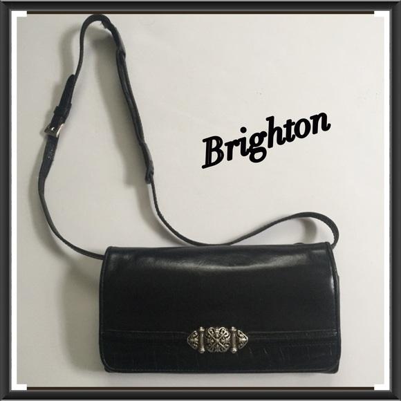 45dd7856970 Brighton Leather Black Crossbody Clutch Organizer
