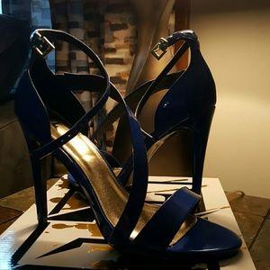 Blue high heeled shoes