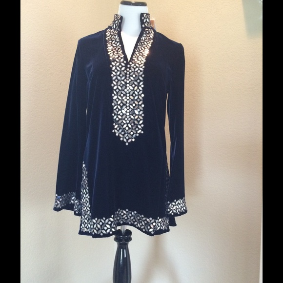 embellished Tory tunic - Blue Tory Burch Outlet Store Sale Largest Supplier Cheap Sale Popular qDZhcN