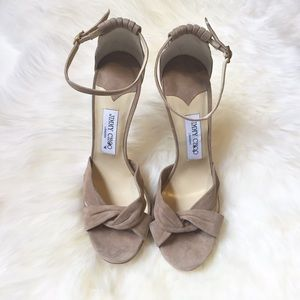Jimmy Choo Shoes - Jimmy Choo Tan Suede Marion Ankle Strap Heels