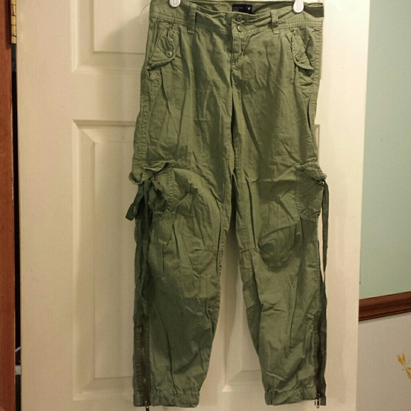 Innovative AMERICAN EAGLE Khaki Pants Womens 2 Gray Cargo Lowrise Drawstring Le
