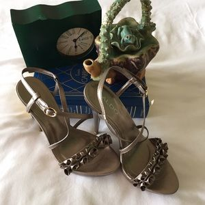 "Aldo 4 1/2"" heels with fabric ruffles"