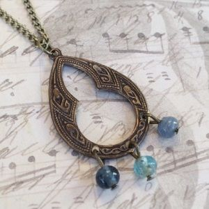Teardrop Etched Natural Brass Necklace
