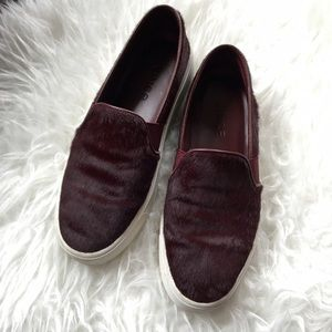 Vince Shoes - Vince burgundy pony hair slip ons