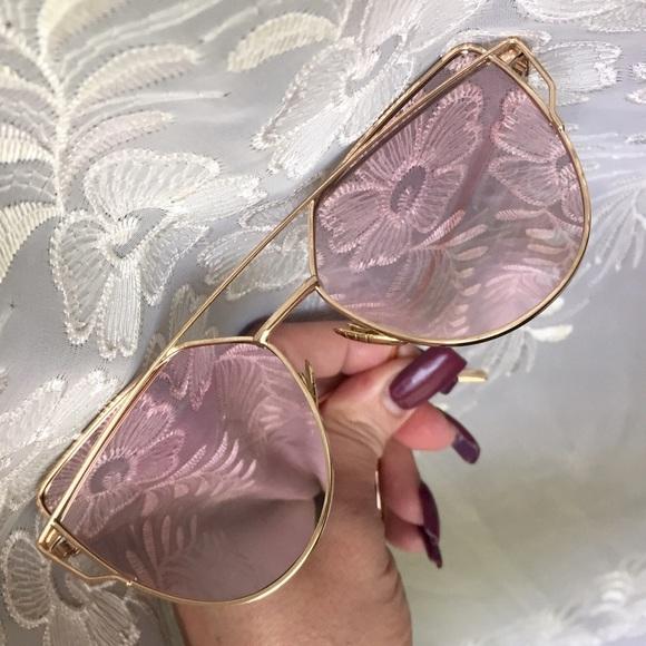 c45bea18bf Rose Gold Semi Translucent Cross Wire Sunglasses