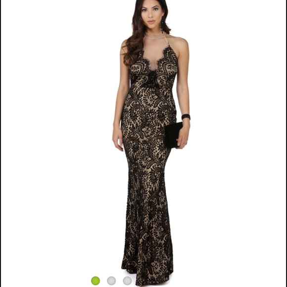 WINDSOR Dresses | Black And Nude Lace Prom Dress With Mesh | Poshmark