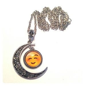 Jewelry - Blushing Emoji Crescent Moon