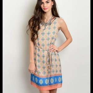 Peach and blue boho dress