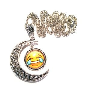 Jewelry - Laugh to Cry Emoji Crescent Moon Necklace