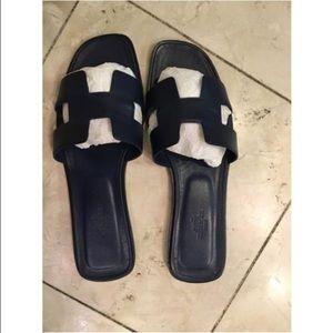e281fc07ecdf Hermes Shoes - SOLD--Hermes Oran Navy Sandals Size 39