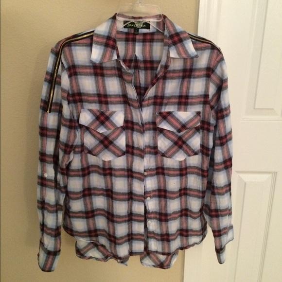 34abca635f11f Sam Edelman plaid zipper shoulder top medium. M 5736593613302a247e034dbd