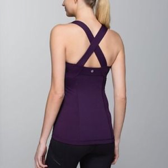 ab4fa13f9f lululemon athletica Tops - Lululemon purple cross back push ur limits tank