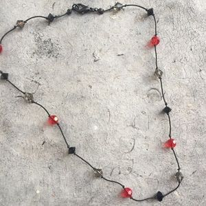 Jewelry - Black Red and Clear Glass Bead Necklace