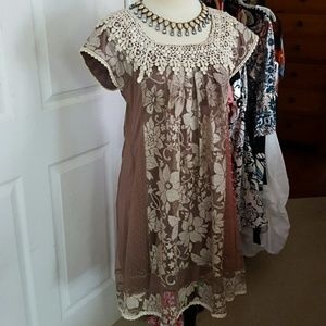 AREVE  Dresses & Skirts - GORGEOUS AREVE LACE DRESS SIZE SMALL,  BEIGE/BROWN