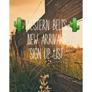 New Belt Arrivals Sign Up List