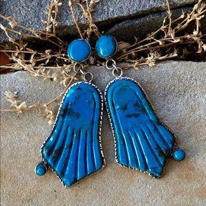 .925 Turquoise Hamsa Post Earrings