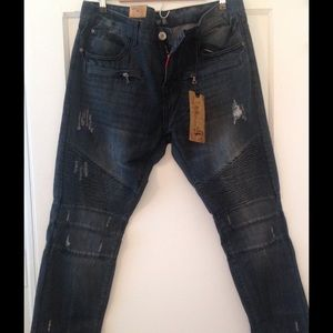 Other - Med dark wash denim moto jeans! Mens size 36X33