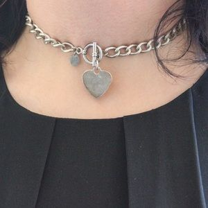 Claire's Jewelry - Claire's Chain Choker Necklace with Heart Pendant