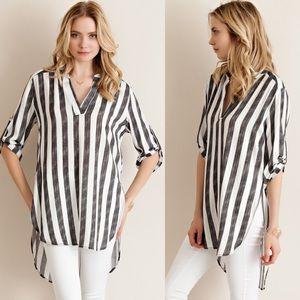 Bare Anthology Tops - Striped Boyfriend Tunic Shirt