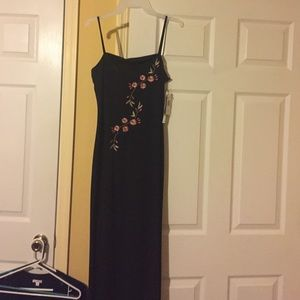 Black spaghetti strap evening dress