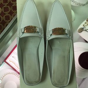 Christian Dior white leather backless moccasins