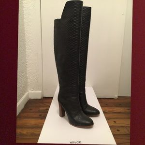 Vince Dempsey Python embossed leather OTK boots