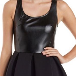 Faux Leather & Scuba Knit Sleeveless Skater Dress