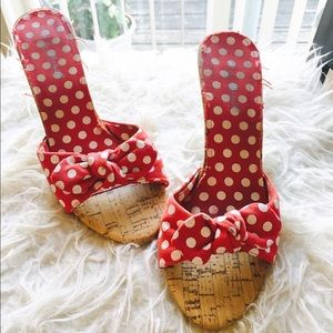 Shoes - 💌 Red & White Polka dot sandal with heel💌