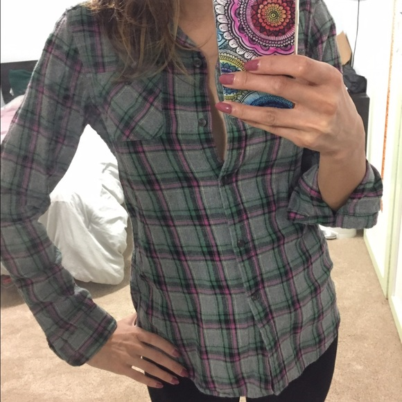 Uniqlo Flannel Grey Pink Green Plaid Shirt From Peg 39 S