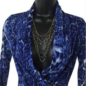 Karen Kane Tops - Blue Leopard Print Sheer Top