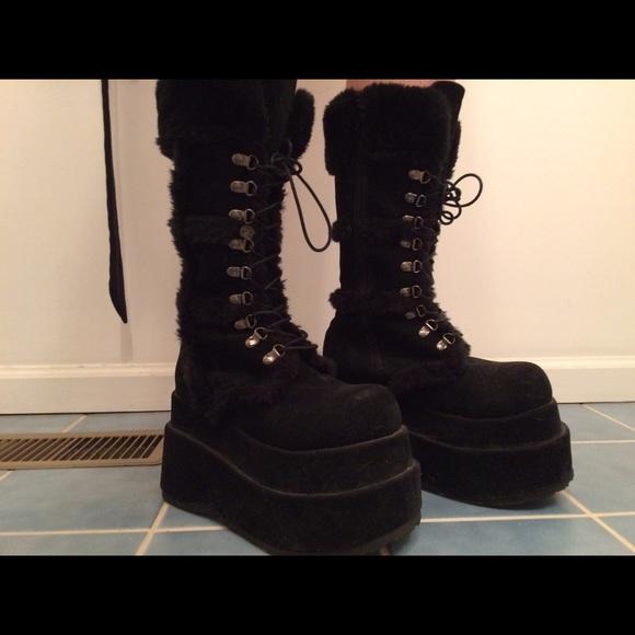 Demonia Black Vegan Suede Fur Bear Platform Boots