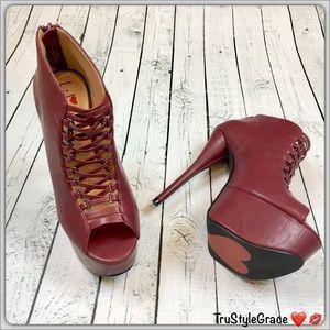 Luichiny Shoes - Brand New-Luichiny Burgundy-Platform Bootie Size 7