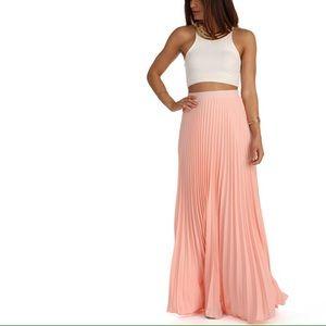 SOLD Peach pleated maxi skirt