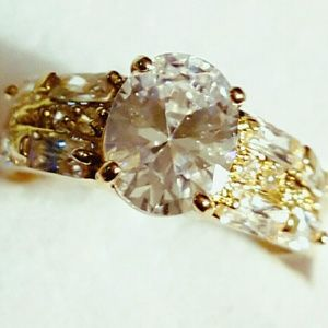 Jewelry - 10k Yellow Gold filled White Oval Cut Sapphire