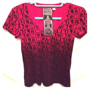 L.A.M.B size small red and black ombré tee shirt