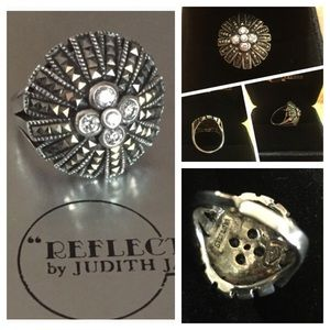 Judith Jack Sterling Silver, Marcasite & CZ Ring🎉
