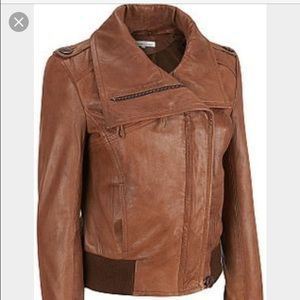 Kenneth Cole cognac leather bomber jacket collar