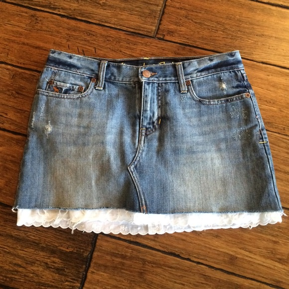 Abercrombie & Fitch - Abercrombie & Fitch Jean Skirt With Lace ...