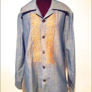 70s Denim Jean Jacket Shirt Mexican Boho XXL Plus