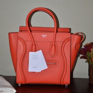 Celine Handbags - 100% auth Celine luggage micro red vermillion
