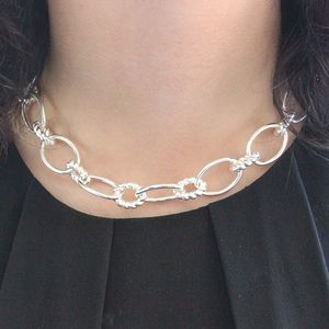 Chaps Silver Chain Link Statement Choker Necklace
