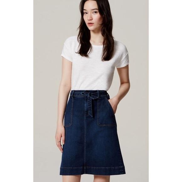 4390a84336 LOFT Skirts | Tiewaist Denim Skirt | Poshmark